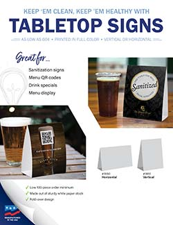 Tabletop signs for restaurants and bars