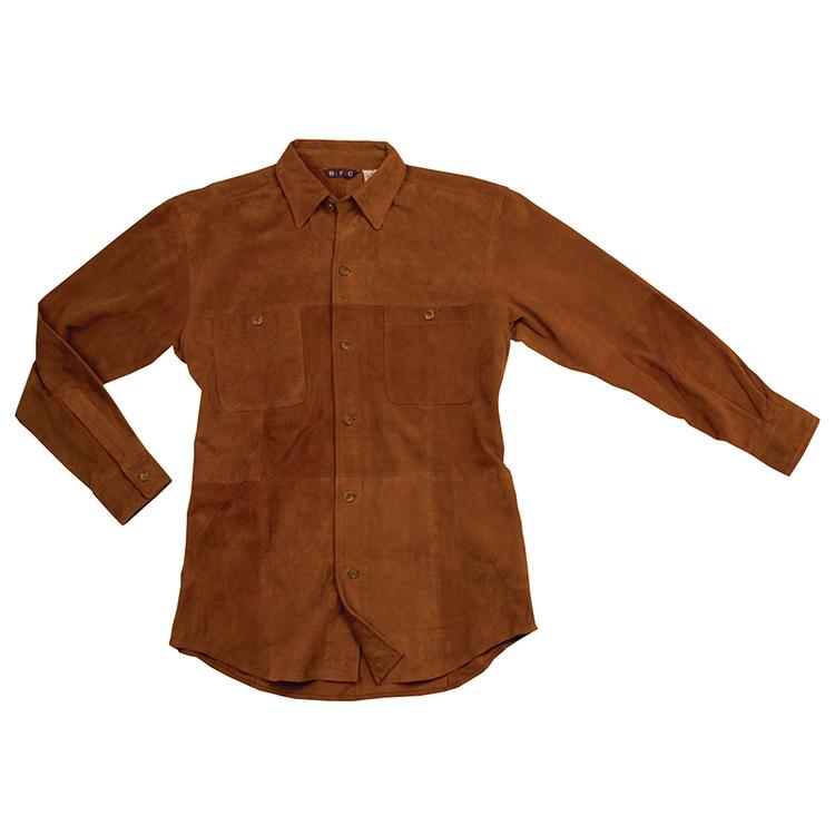 Men\'s Long Sleeve Italian Suede Over Shirt