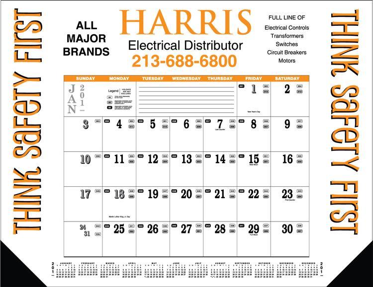Contractor's Desk Pad Calendar - Contractor's 12-Sheet Desk Pad
