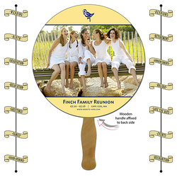 Announcement Hand Fan - 8.5 Inch Diameter Circle Laminated - 14 pt.