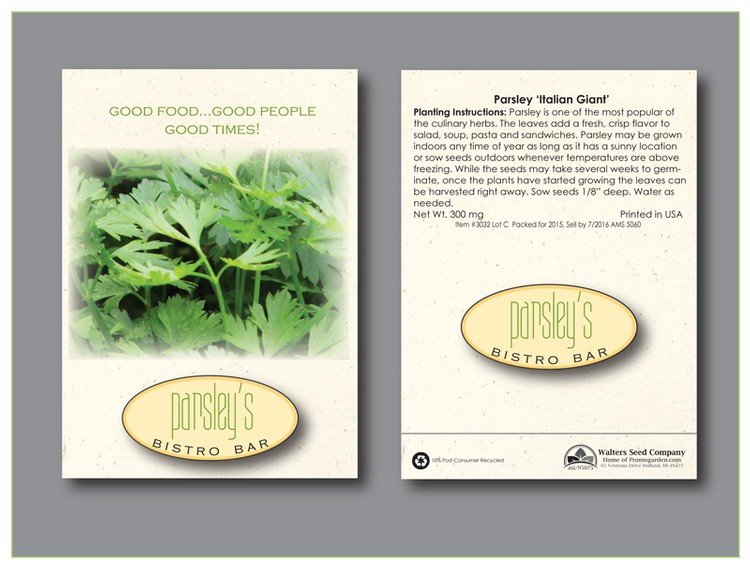 Parsley Herb Seed Packet - Imprinted Seed Packet
