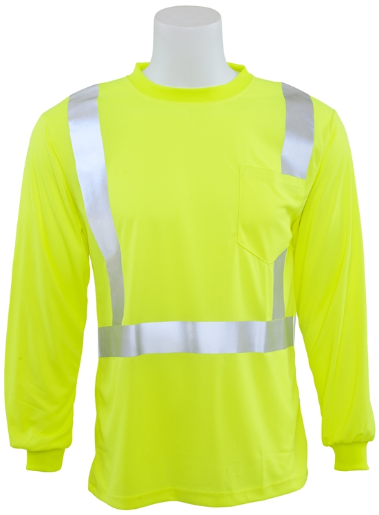 5b96cad681 9007S ANSI Class 2 Hi-Viz Lime Long Sleeve Birdseye Knit T-Shirt (3X-Large)