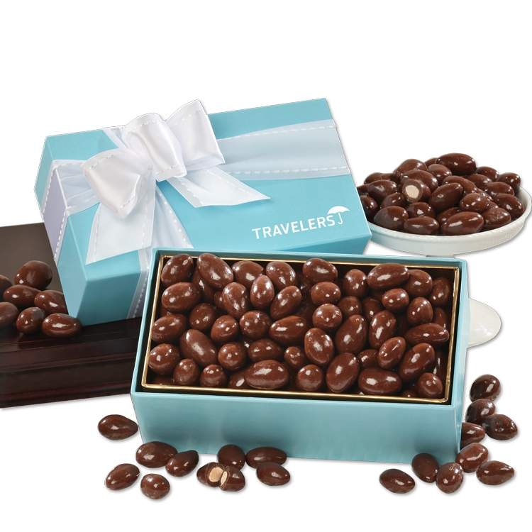 Milk Chocolate Covered Almonds in Robin's Egg Blue Gift Box