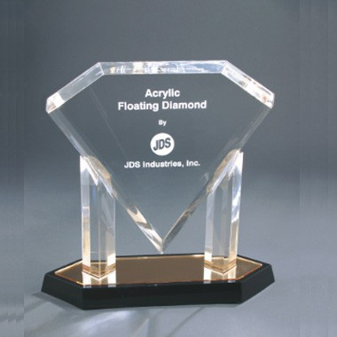11 Inch Gold Floating Diamond Acrylic Trophy