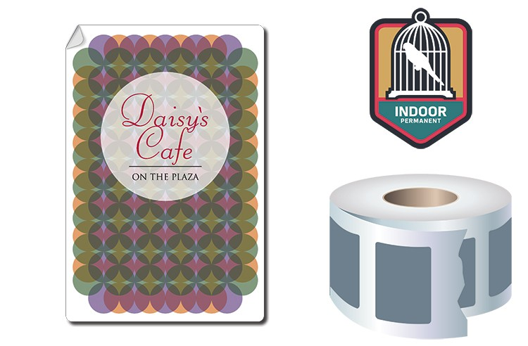 Roll Stickers / Decal - Indoor Permanent - 6x4 Rectangle Shape