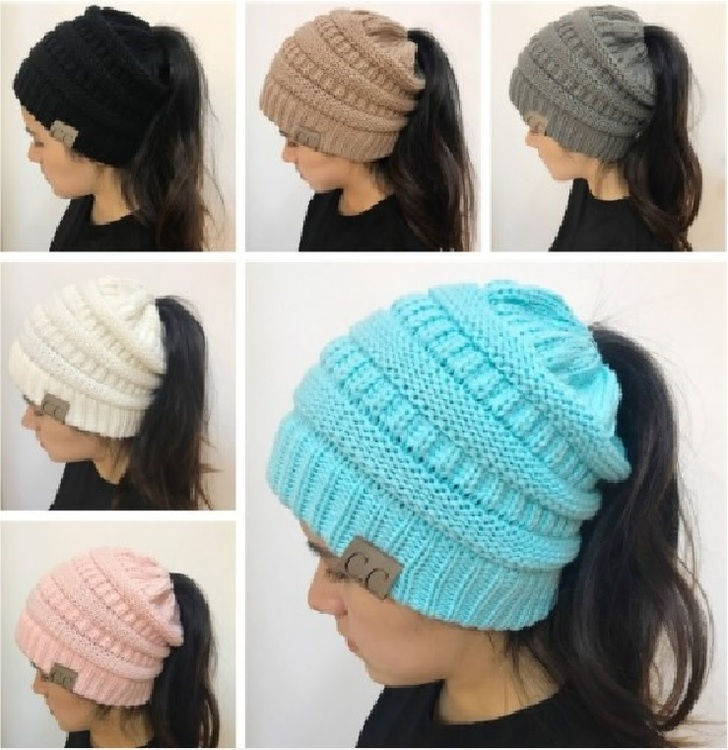 Ponytail Beanie Warm Hat