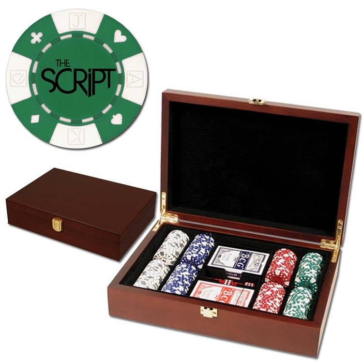 200 Foil Stamped poker chips in wooden Mahogany case - Card design - SET200