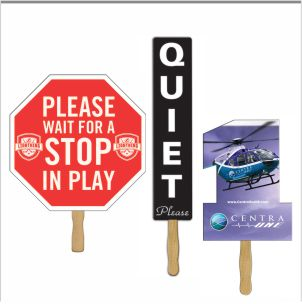 Rally Signs are our extra large hand fans that are used for rallies, school spirit and golf tournaments and safety programs.
