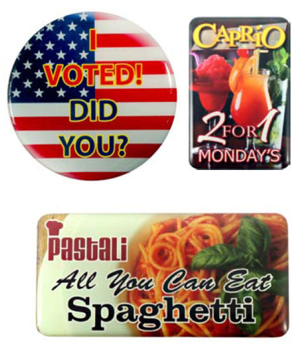 Magnetic Promo / Button / Name Badge with custom shape from 7.1 - 8 Sq. In.