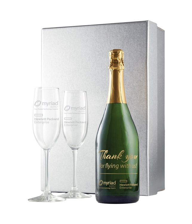 Champagne Gift Set with Flutes and Silver Gift Box with 1 Color Fill