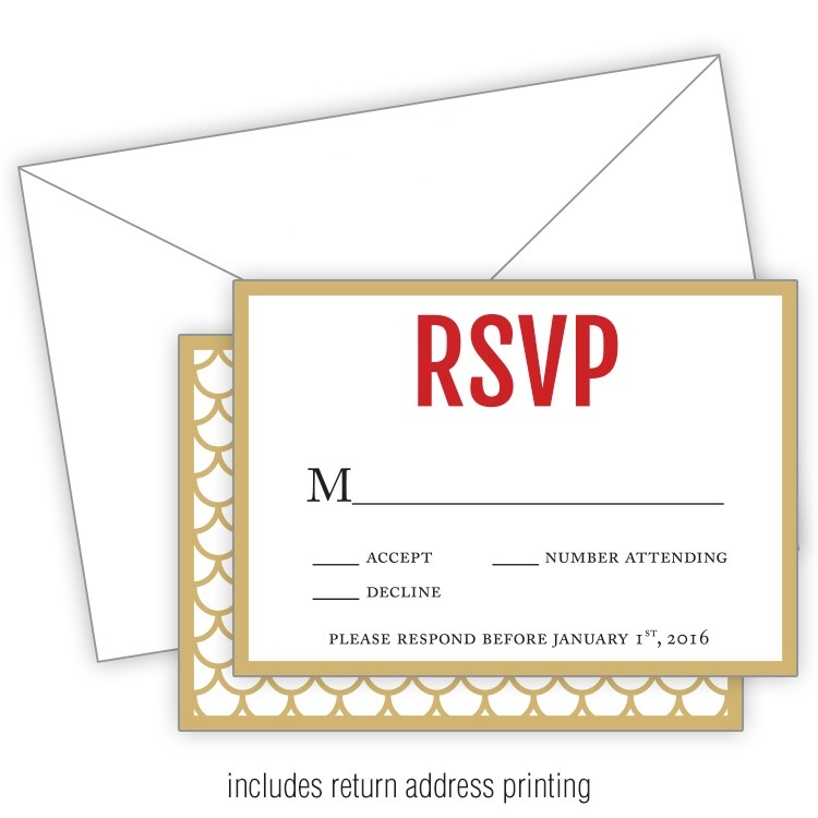 wedding rsvp card flat with printed envelopes 3 5x5 5204010