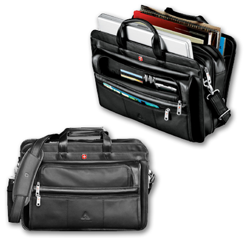 Wenger Executive Leather Double Compartment Compu-Attache