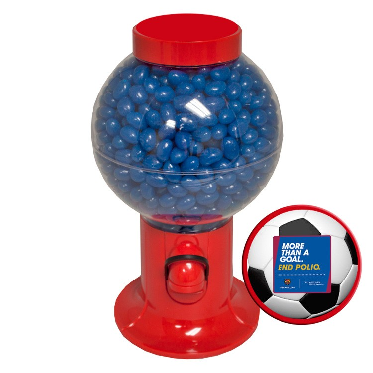 Red Gumball Machine with Corporate Color Jelly Beans