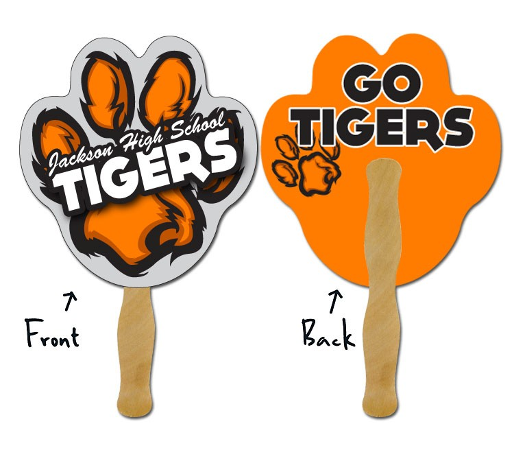 Hand Fan - 7.5x7.375 Paw Print Shaped Laminated - 14 pt.