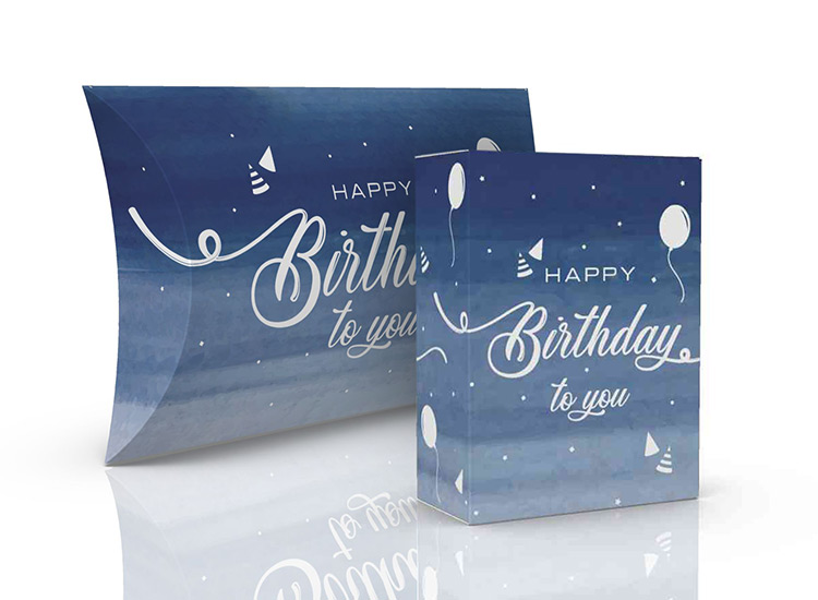 Blue Birthday Gift Box, Tuck Box, Pillow Pack
