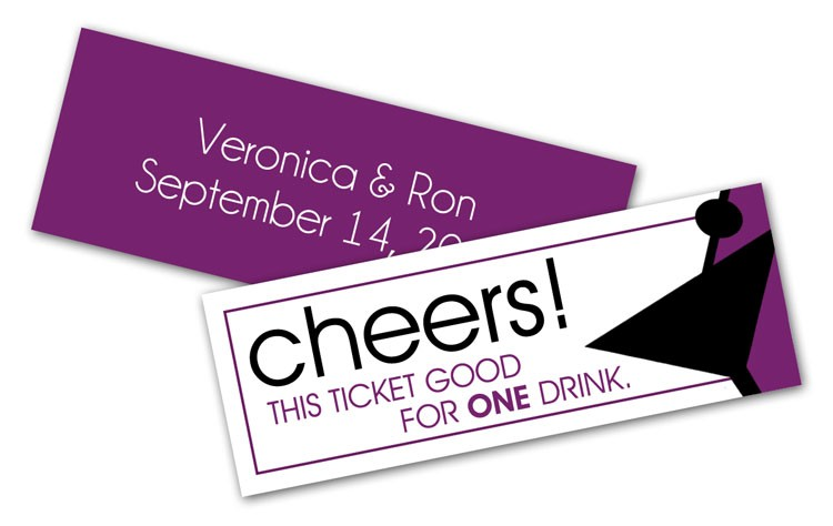 Wedding Drink Tickets (2.75x1) - Extra-Thick UV-Coated (1S)