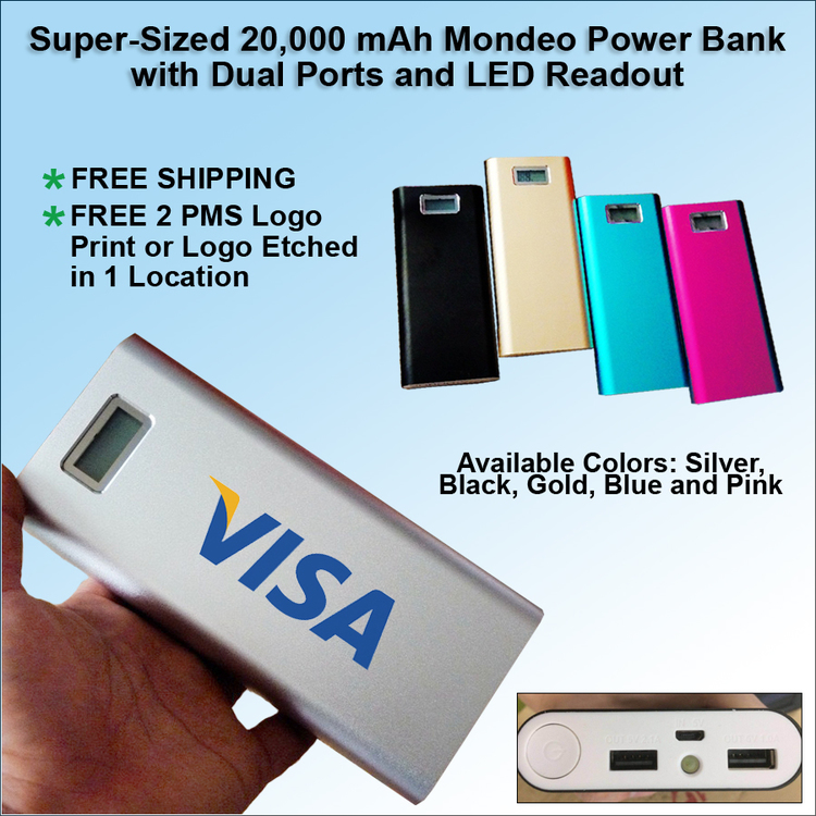 Mondeo 20000 mAh Power Bank with Dual Ports and LED Readout