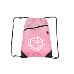 Pink Drawstring Backpacks with Front Zipper Pocket