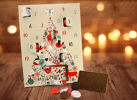Chocolate Advent Calendar 2019.Holiday Tree Chocolate Advent Calendar