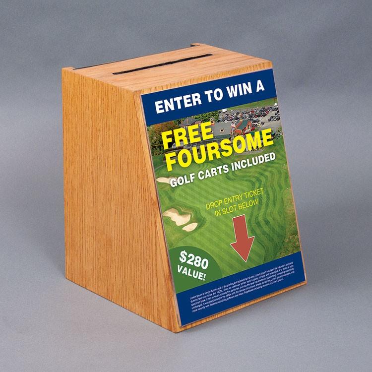 Oak Counter Ballot Box