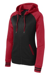 Sport-Tek Ladies Sport-Wick Varsity Fleece Full-Zip Hooded Jacket.