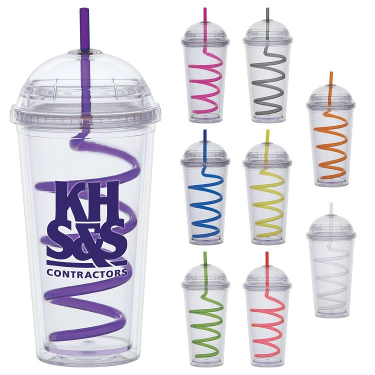 20 oz. Big Top Carnival Cups - Color Curly Straw, Clear Lid