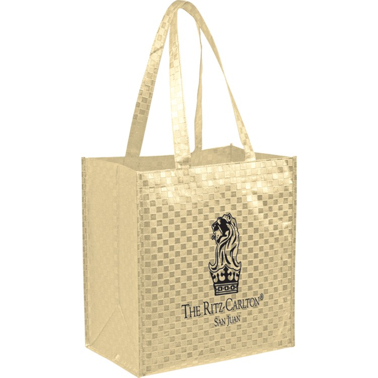 Non-woven Metallic Laminated Polypropylene Grocery Tote - Patterned Finish