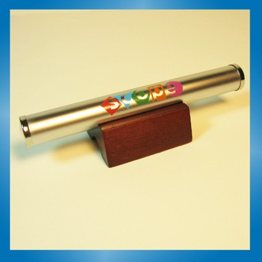 Matte Silver Kaleidoscope with Wood Base.
