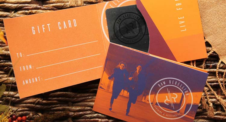 Custom printed gift card holder for retail store