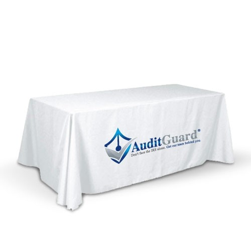 Tablecloth , White with Full Color Sublimation Imprint , for a 8 Foot Table