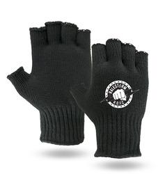 Black Fingerless Knit Gloves