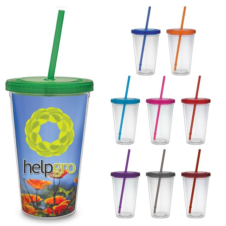 16 oz. VIVID Print Color Core Carnival Cups - Color Straw and Lid