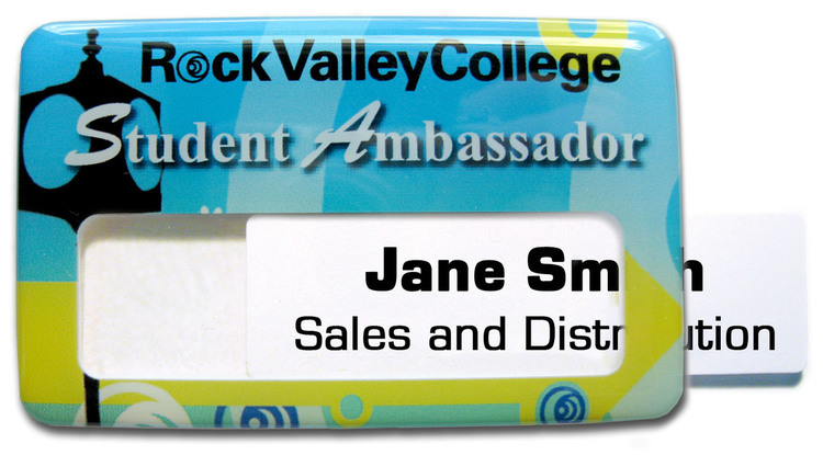 Magnetic Window Name Badge with custom shape from 6.1 - 7 Sq.In.