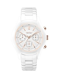 Caravelle New York Women's Chronograph White Ceramic Bracelet Watch