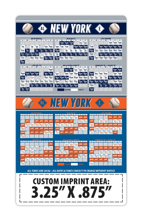 Magnet Sport Schedules - 3.5x6 Baseball Round Corners - 25 mil.