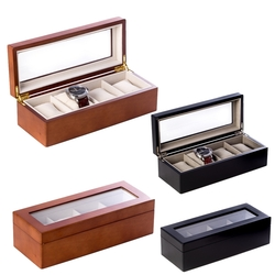 4 Watch Wooden Box with Glass Top