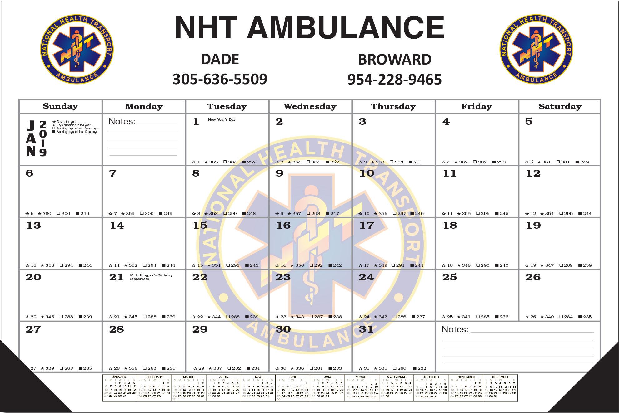 Full Color 12 Sheet Desk Pad Calendar