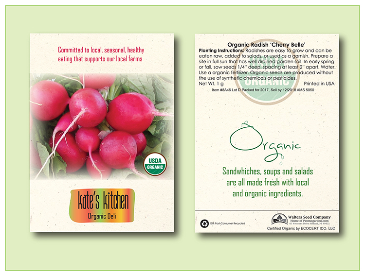 Organic Radish 'Cherry Belle'Seed Packet - Imprinted Seed Packet