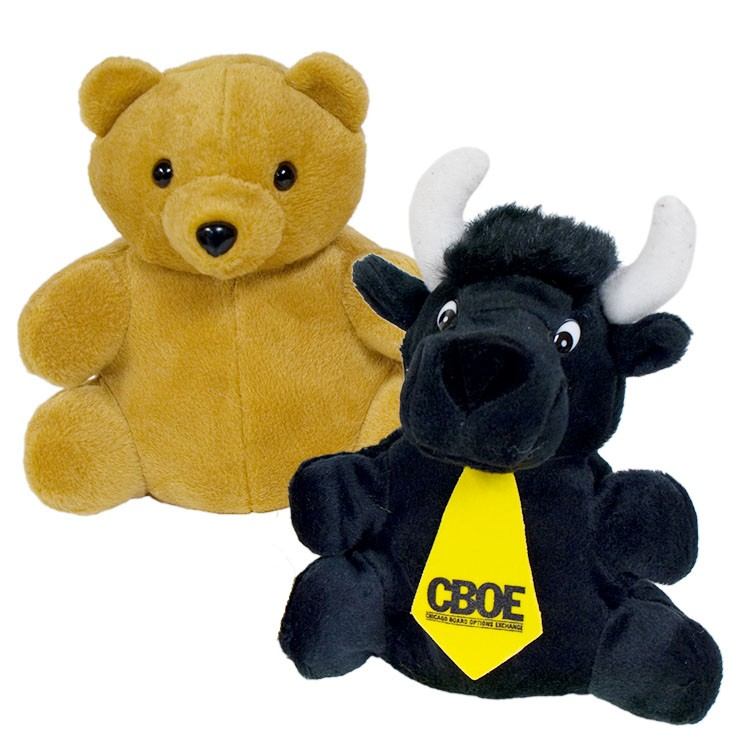 10 Bear/Black Bull Reversible Puppet and 1 tie with one color imprint