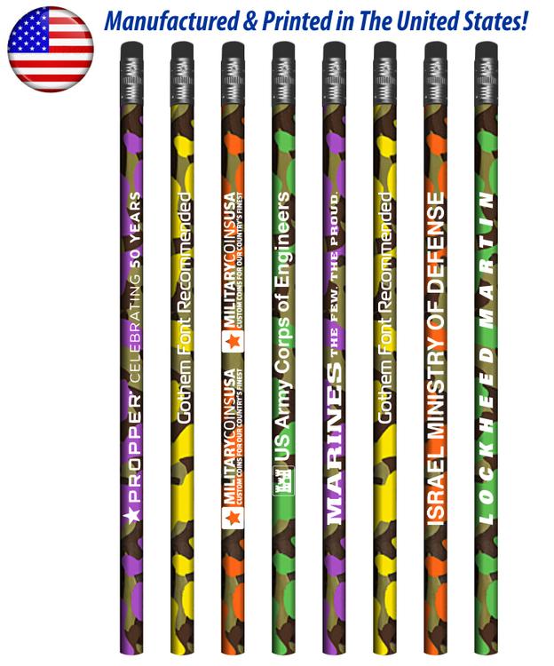 USA Made Colorful Camo Pencil w/ Black Eraser, #2 lead
