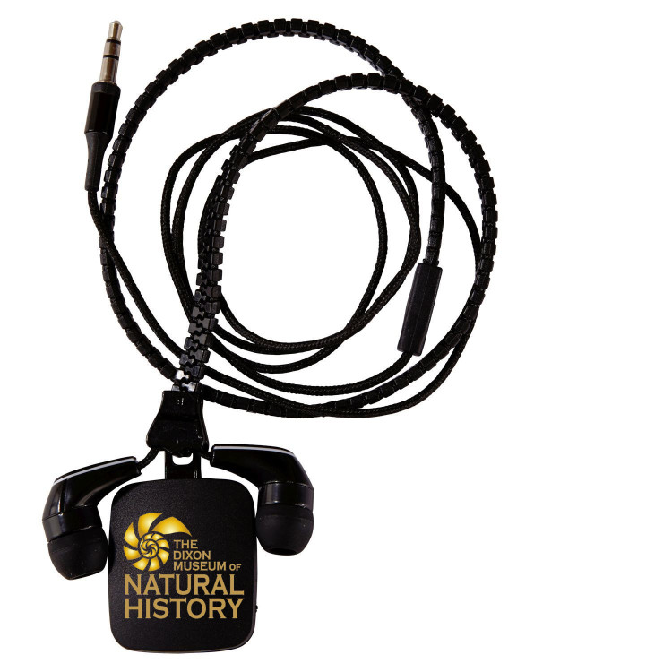 Zipper Ear Buds with Pull -Black