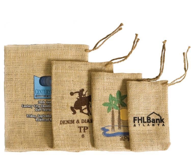 Sweet Treats Jute Burlap Drawstring Bag 5x7