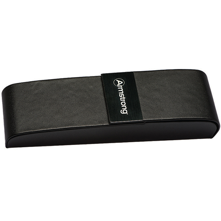 Black Leatherette Double Pen Box w/Brushed Metal Plate