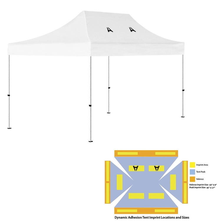 10' x 15' Pop Up Tent (Full-Color Dynamic Adhesion, 2 Locations)