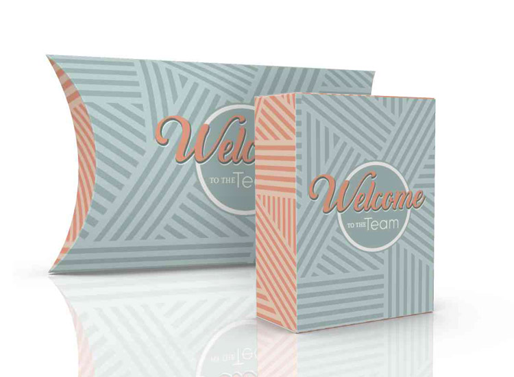 Welcome kit boxes, small tuck boxes, pillow packs