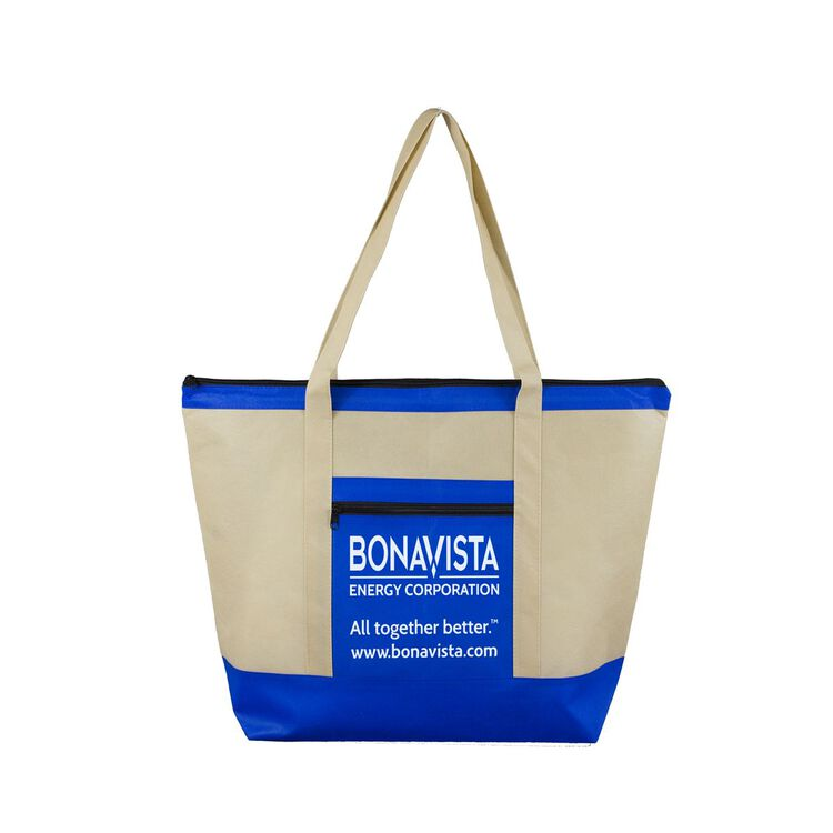 "21"" W x 16"" H - 80GSM Non-Woven 'Country Aire' Oversized Beach and Travel Zippered Tote Bag"