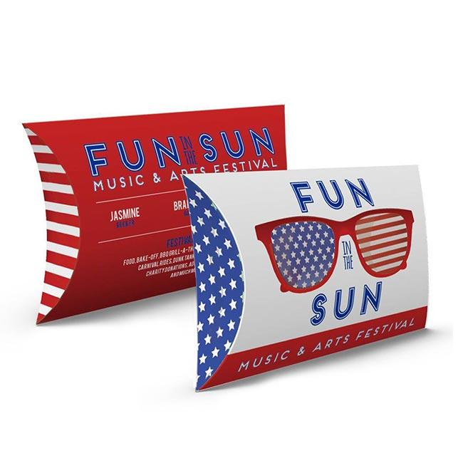 Custom printed pillox box with USA-themed design