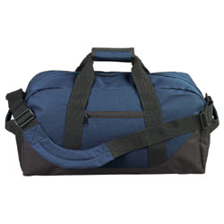 600D Poly Two-Tone Duffel Bag Large zipper pocket velcro handle removable strap bag