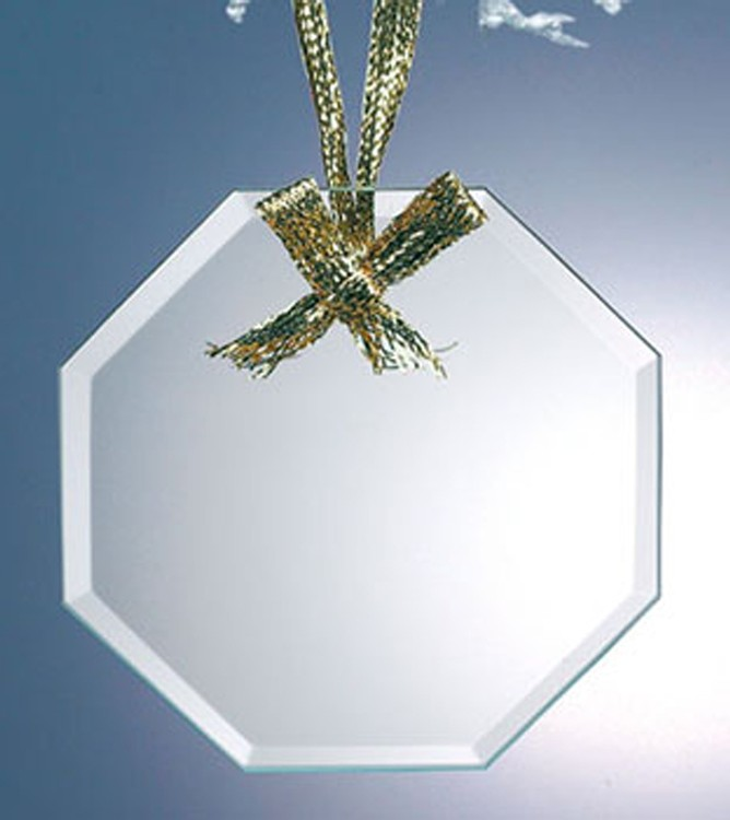 Alicia Beveled Economy Ornament-Octagon with Gold Ribbon for Hanging-Jade Glass