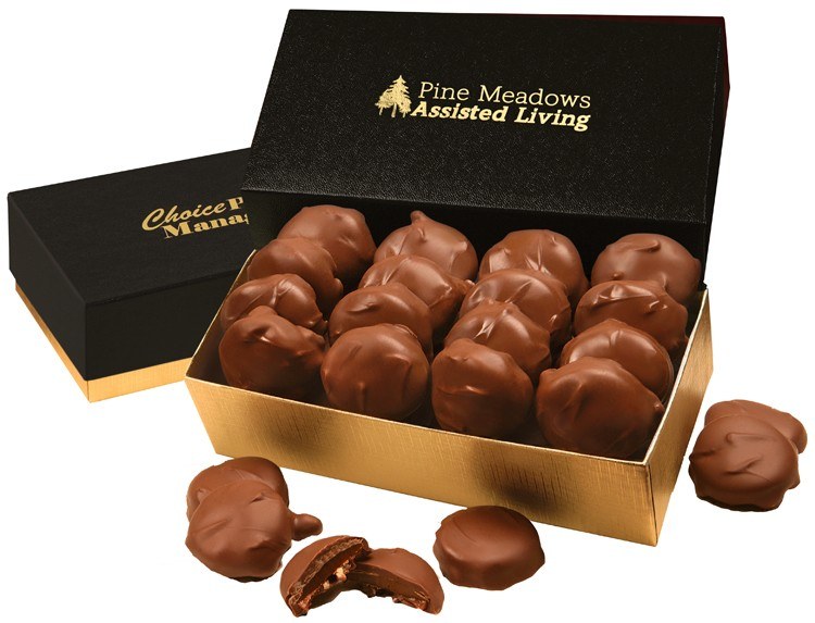 SALE! - Black & Gold Gourmet Treats Gift Box with Pecan Turtles